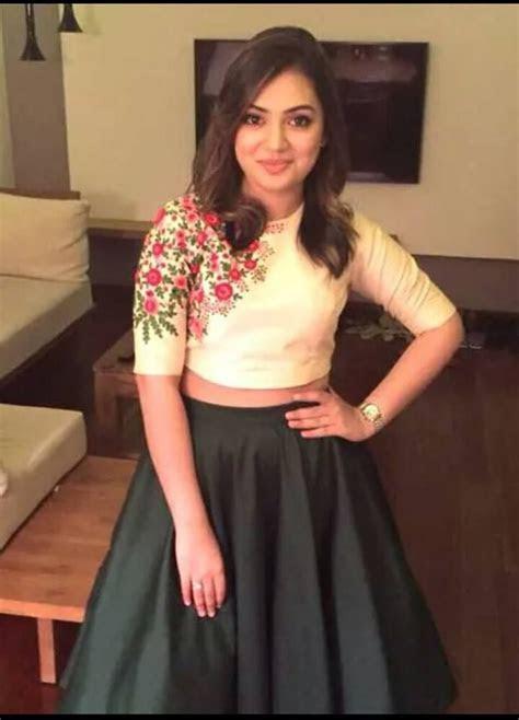 Nazriya Nazim. Crop top and skirt by Pranaah. Designer