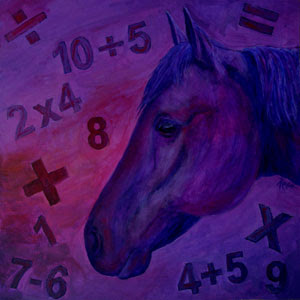 My completed painting of Clever Hans - click to see the panel on the Mural Mosaic site and find out more about Clever Hans