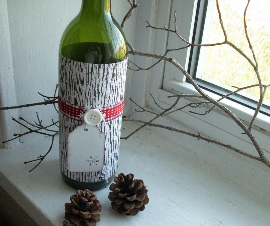 Wine bottle wrapper - Woodgrain paper Brown/red