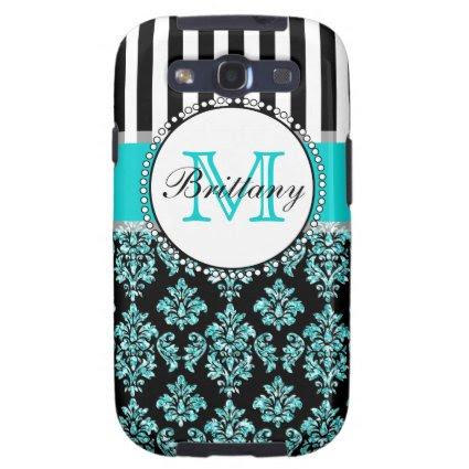 Girly Modern Aqua Teal Glitter Damask Personalized Galaxy S3 Cases