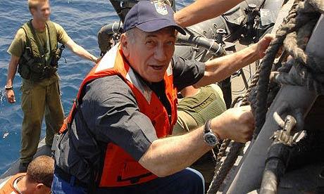 Israeli PM Ehud Olmert visiting an Israeli navy base in Haifa, Israel