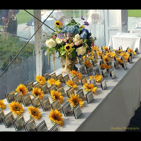 modern sunflower wedding theme   Wedding Decor: Escort