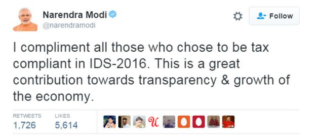 Tweet by Indian PM Narendra Modi
