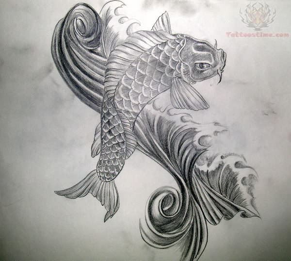 Koi Fish Black And White Tattoo