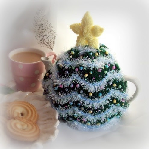 Order a Christmas Tree Tea Cosy with glass decorations in your choice