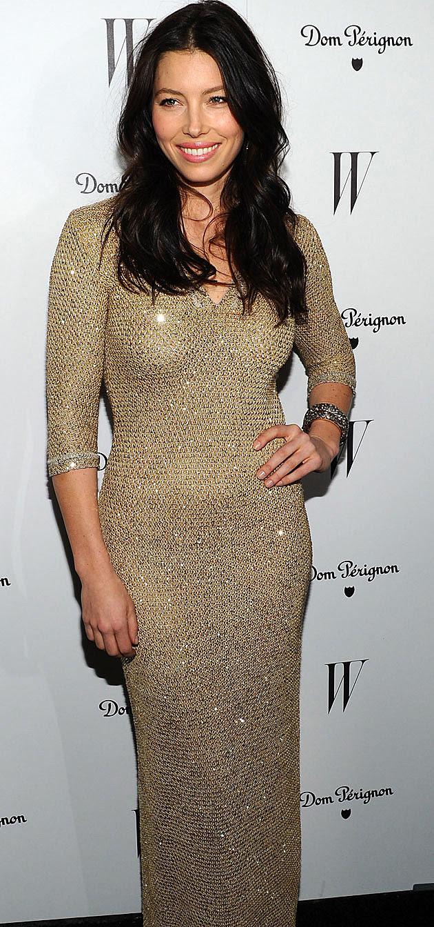 Jessica Biel shiny dress