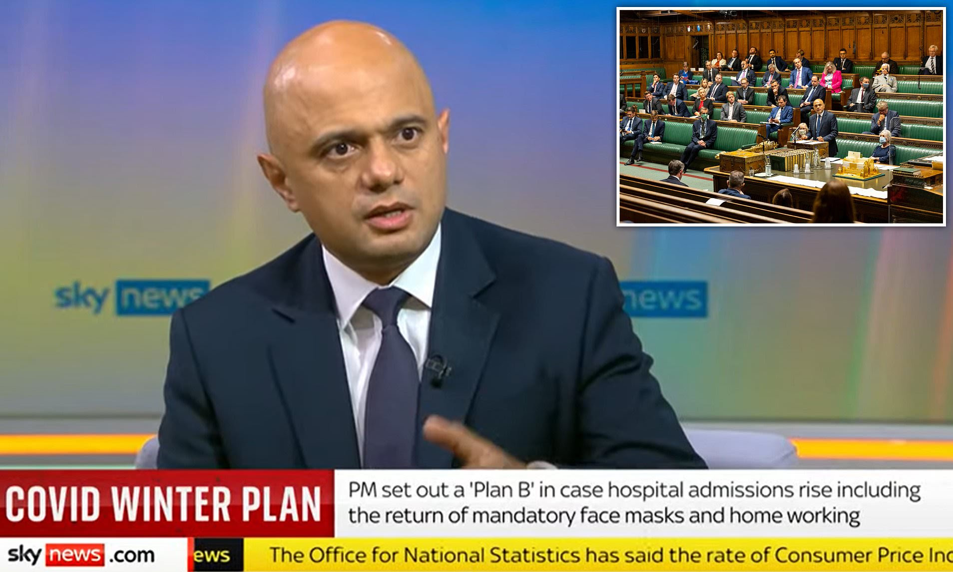 Sajid Javid: Face masks not needed in Commons because MPs not 'strangers'