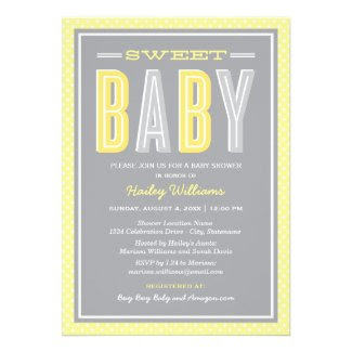 Baby Shower Invitation | Chic Type - Yellow Gray