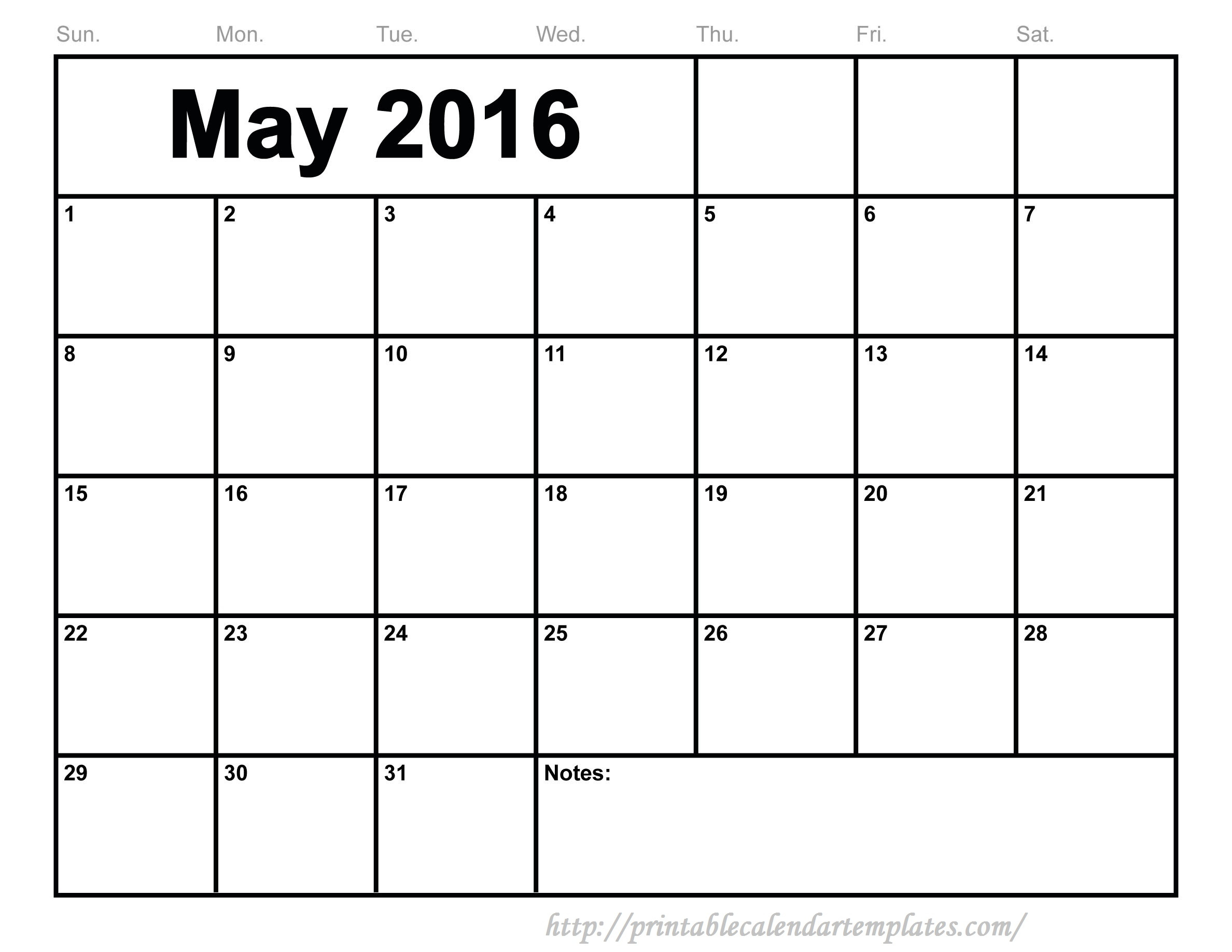 May 2016 Editable Templates   Printable Calendar Templates