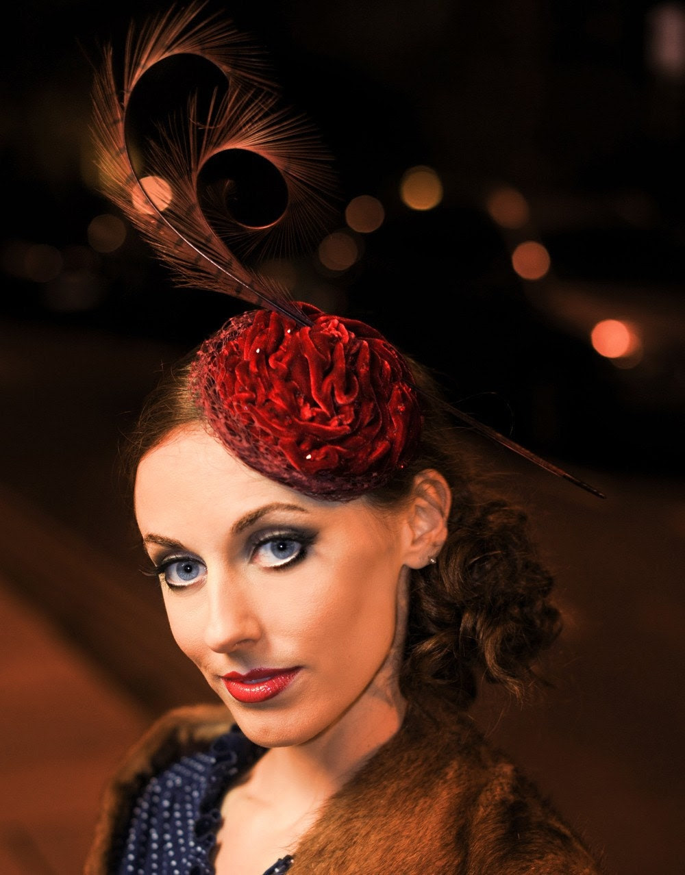 Red Velvet Rose cocktail headpiece