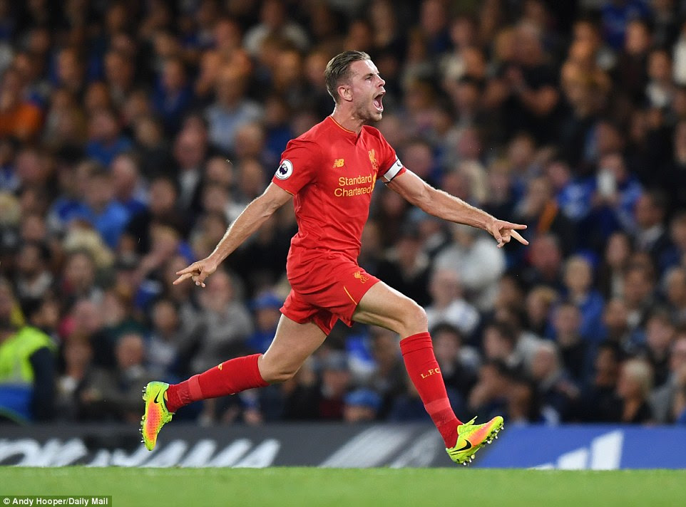 Henderson could barely contain himself after doubling Liverpool's lead with a goal of the season contender