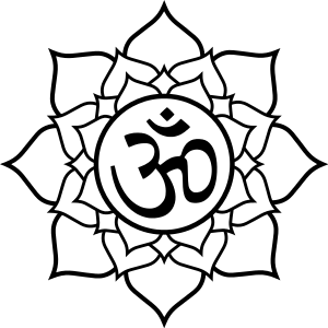 Lotus flower and om symbol