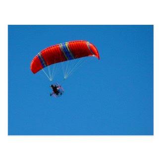 Motor Paraglider on Blue Sky Postcard