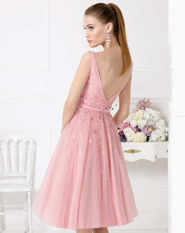 Sequin Pattern Embroidered A-line Knee Length Pink Tulle Couture Bridesmaid Dress _1