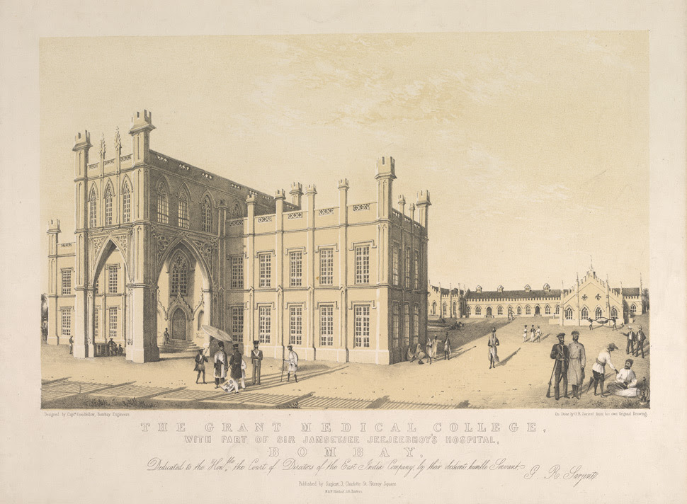 'The Grant Medical College, with part of Sir Jamsetjee Jeejeebhoy's Hospital, Bombay.'