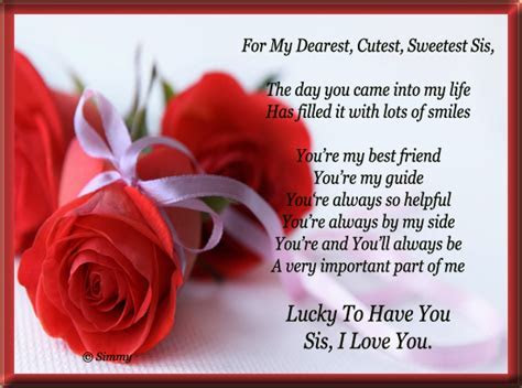 For My Dearest Cutest Sweetest Sis! Free Sister eCards