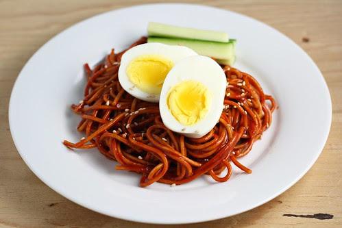 Bibim Nengmyun (Buckwheat Noodles with Hot Pepper Sauce)
