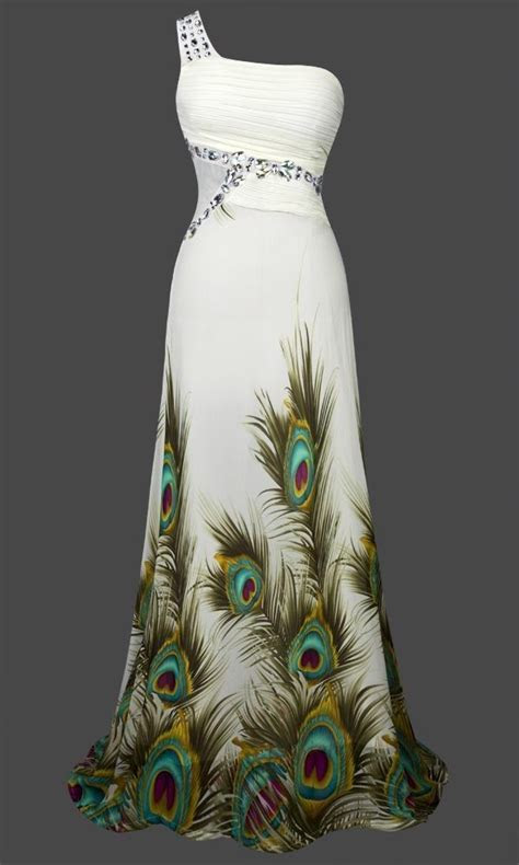 unique peacock rhinestone maxi evening gown prom dress