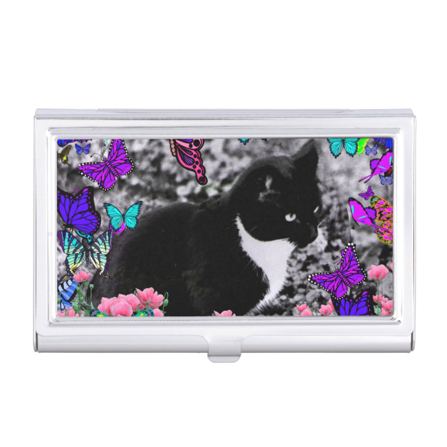 Freckles in Butterflies III, Tux Kitty Cat Business Card Holder