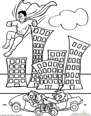 color the superhero  coloring page  education