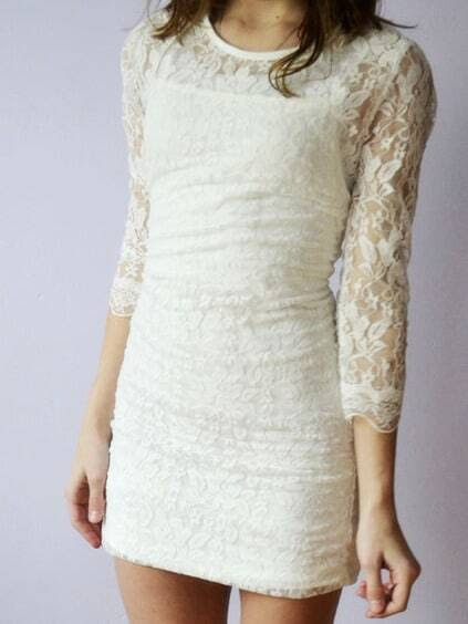 Sheer Lace Bodycon White Dress pictures
