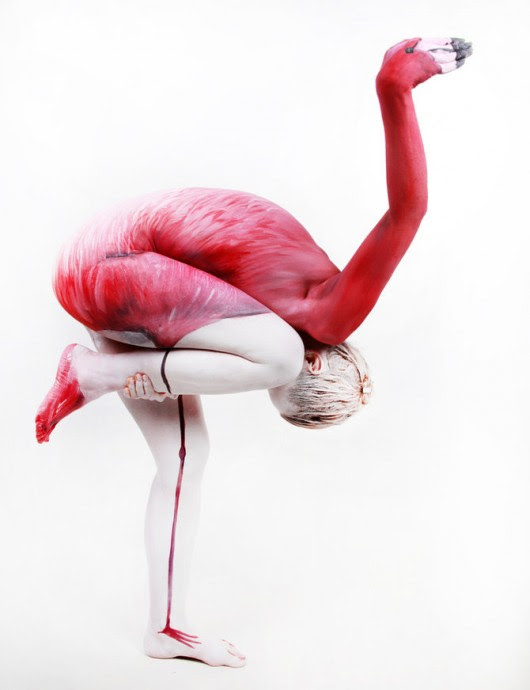 Flamingo Body Painting by FelixKelevra