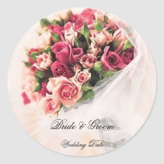 Roses Bouquet Wedding Sticker sticker