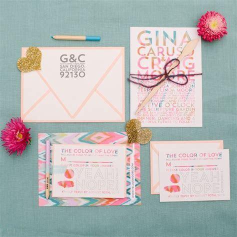 Artsy San Diego Wedding   Wedding Invitations   Paper