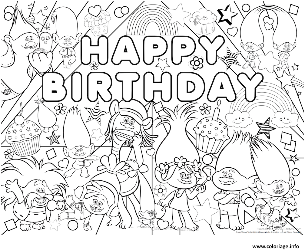 Coloriage Happy Birthday Bonne Fete Trolls Jecoloriecom