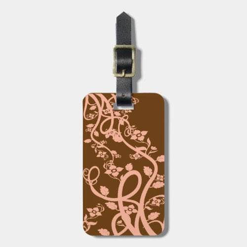 Peach Filigree and Flowers Luggage Tag