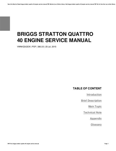 Briggs stratton quattro 40 engine service manual