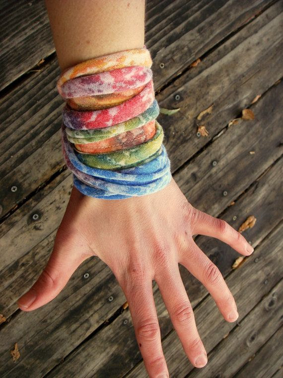 upcycled mottled earthy rainbow wrap bracelet by bitsandblurbs