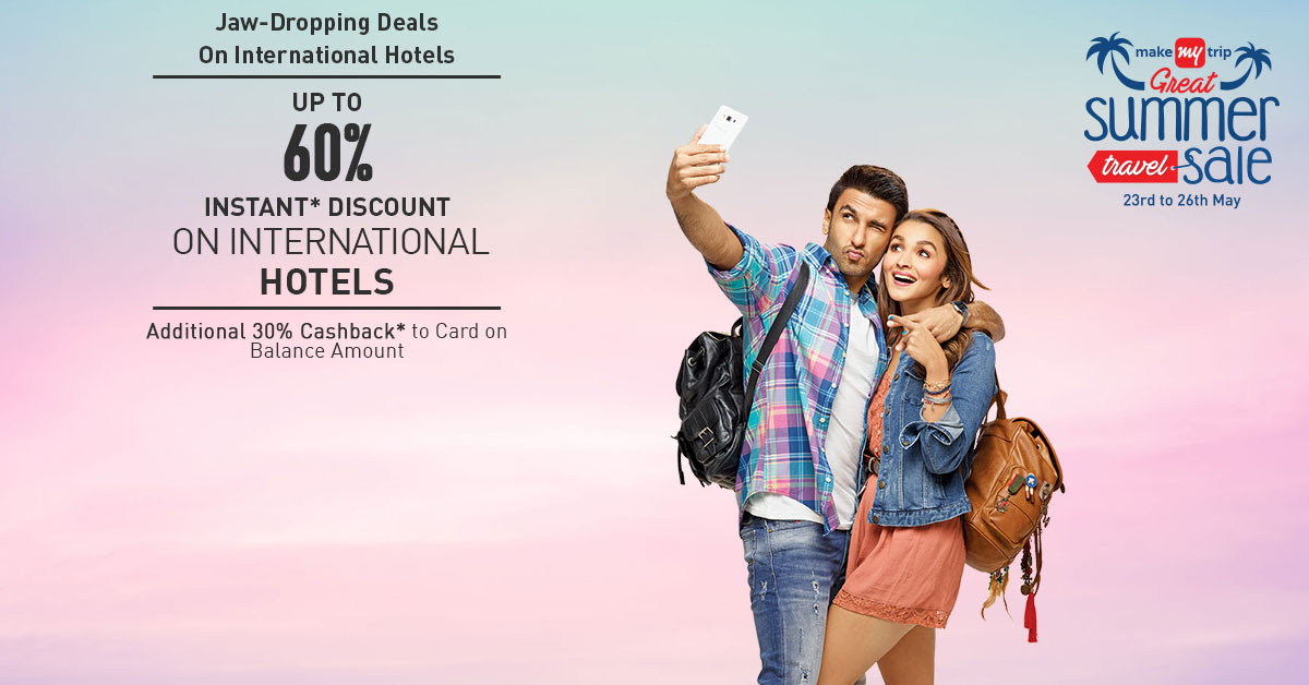 jaw -dropping deals on   make my trip international hotels up to 60%   off instant discount on  international  hotels    additional 30% cashback to card on blance   amount
