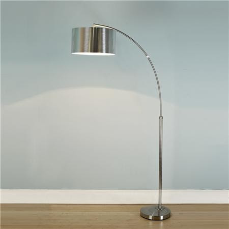 Nickel Arc Floor Lamp with Silver Drum Shade - Shades of Light ...