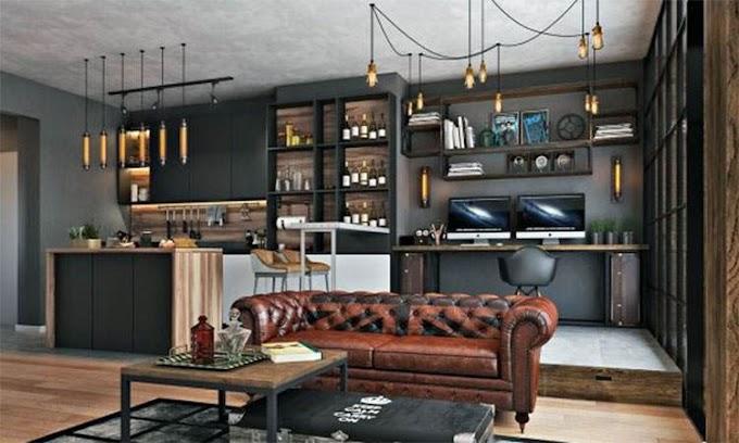 Σαλόνι με δερμάτινο Chesterfield καναπέ