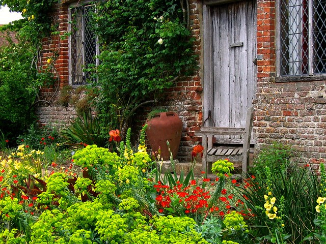 Outside the South Cottage at Sissinghurst Castle Garden in Kent, England
