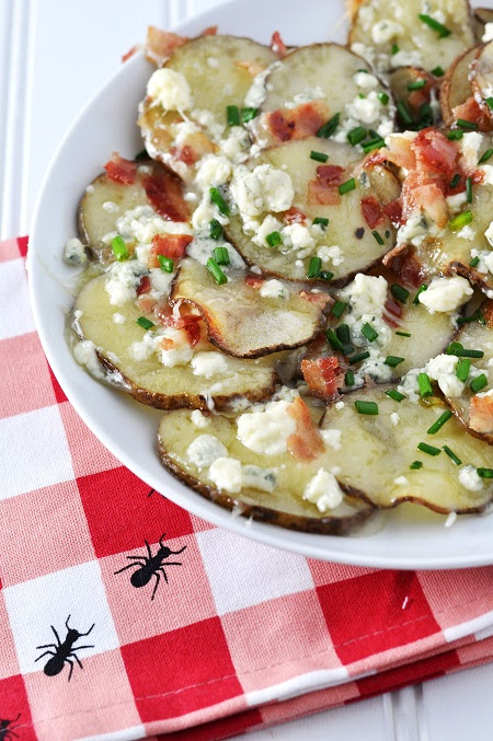 Baked Potato Chip Nachos with Gorgonzola and Bacon | Savoring the Thyme