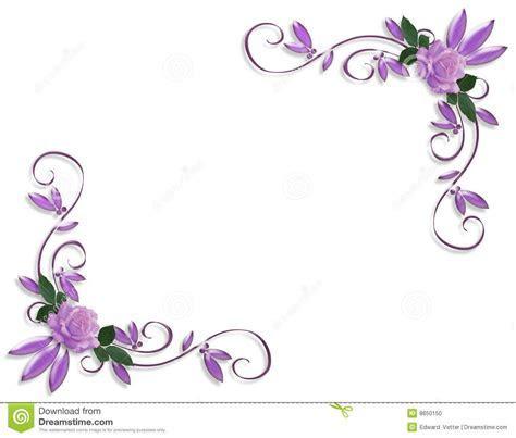 Purple roses corner border designs   Wedding Invitation