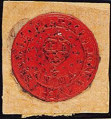 Round red wax stamp