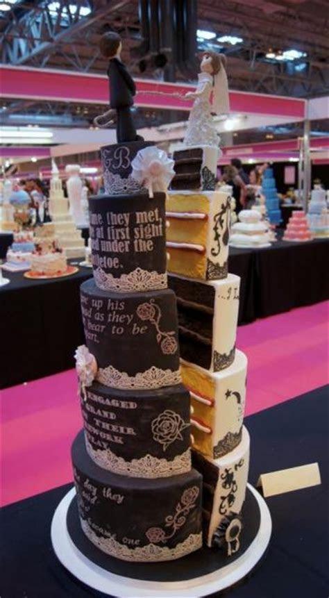 Unique 4 Tier Split Wedding Cake with Bride & Groom