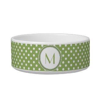Lime and White Polka Dot Monogram Pet Bowl petbowl