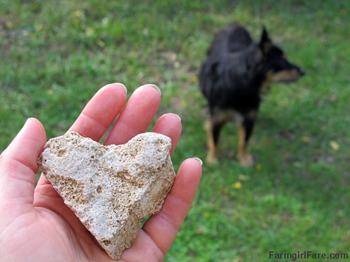 Heart rock found in the creek bed - FarmgirlFare.com