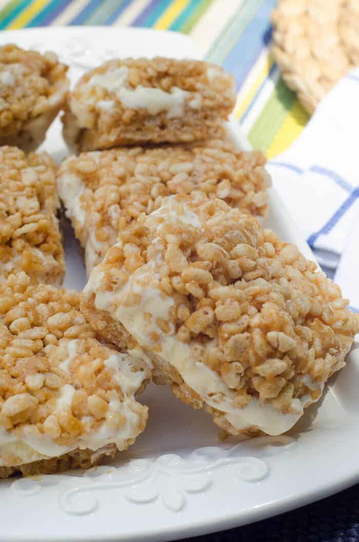Peanut Butter Rice Krispie Ice Cream Sandwiches - Valerie ...