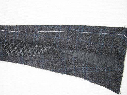 Grey jacket interfacing stitch sample