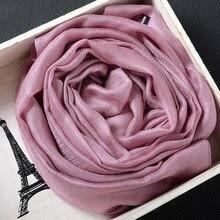 Silk Scarves Women Cotton Chiffon Scarf Solid Foulard
