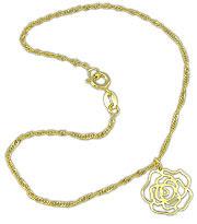 Tornozeleira folheada a ouro c/ detalhe em forma de flor-Clique para maiores detalhes