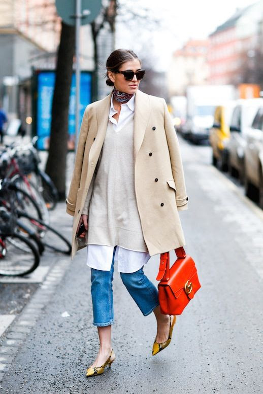 Le Fashion Blog Fall Blogger Style Low Bun Sunglasses Silk Neck Scarf Tan Coat Long Sweater Layered Over White Button Down Shirt Red Gucci Bag Cropped Jeans Printed Slingback Heels Via Darja Barannik