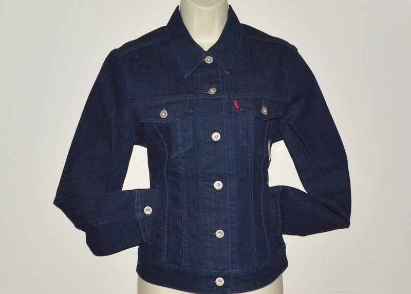 levis blue denim jean jacket women cotton dark wash long