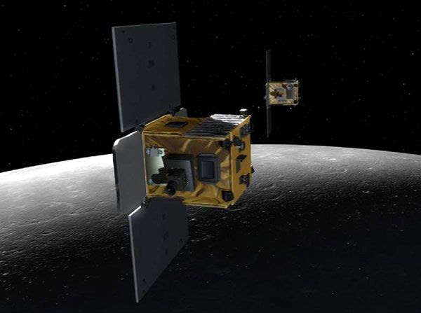 An artist's concept of the Ebb and Flow spacecraft, which comprised NASA's GRAIL mission, in lunar orbit.