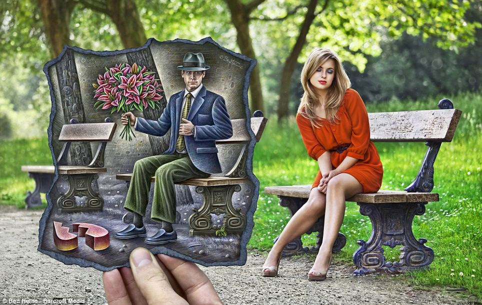 A blonde looks away as a male admirer with flowers is left with a broken heart: The artist said he has been deeply influenced by Belgian Surrealism, German Expressionism, American Pop Art and Social Realism